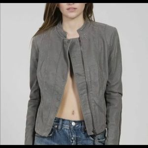 Free People Faux Sueded Leather Motorcycle Jacket